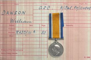 WW1 British War Medal to R4-124949 ACpl. W Dawson, ASC. Complete with ribbon and research.