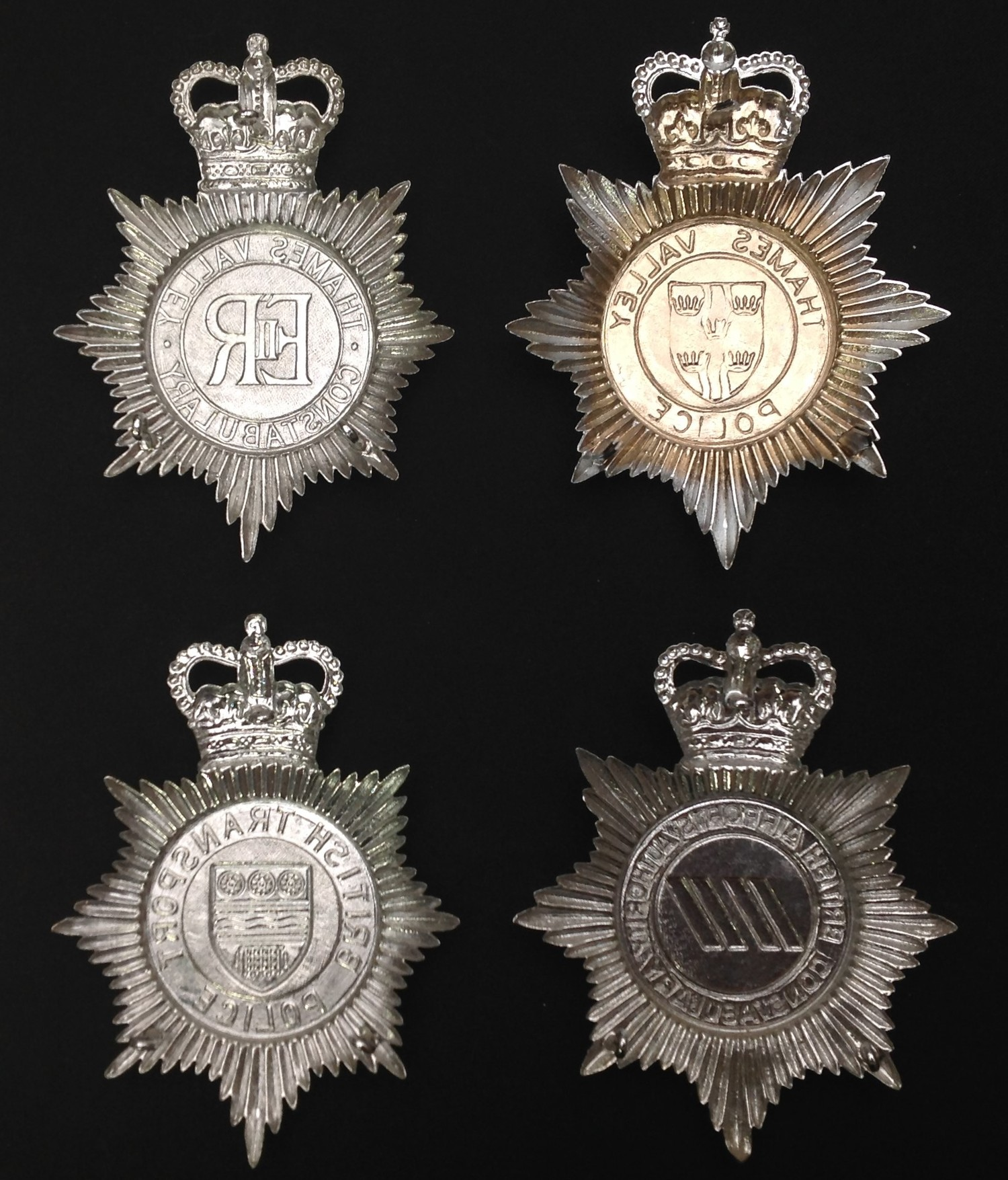Queens Crown Thames Valley Police Helmet Plates x 2. Each has a different design to the centre of - Image 2 of 2