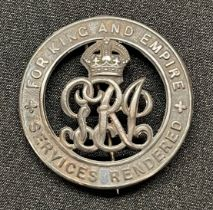 WW1 British Silver War Badge serial number 370248 awarded to 23128 Pte Walter Bingham, Notts & Derby