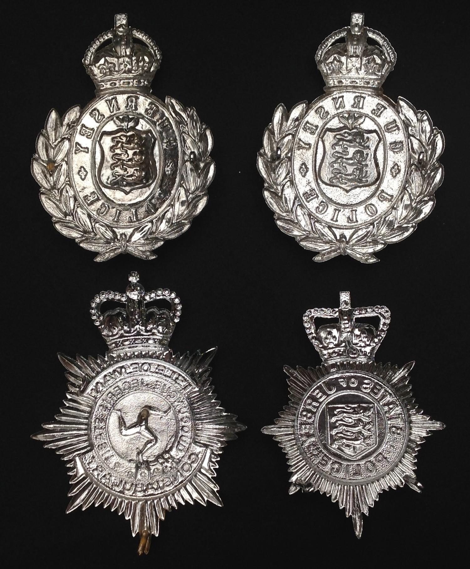 Kings Crown Guernsey Police Helmet Plates x 2: Queens Crown States of Jersey Helmet Plate: Queens - Image 2 of 2
