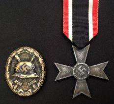 WW2 Third Reich Verwundetenabzeichen im Schwarz 1939 Wound Badge in Black 1939. Early example in