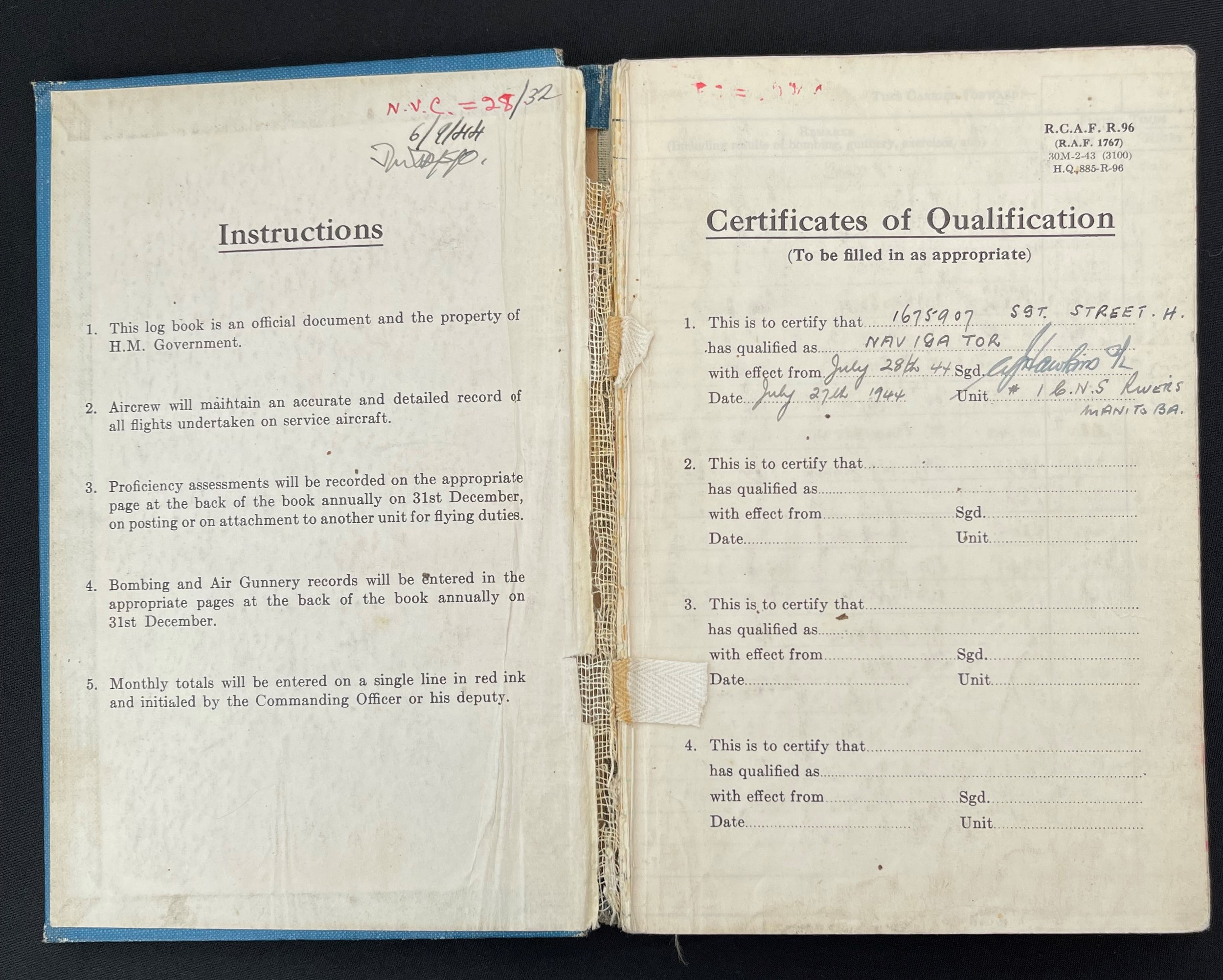 WW2 British RAF Navigators Log book, Service & Release Book and Medals to 1675907 Sgt Horace Street, - Image 2 of 11