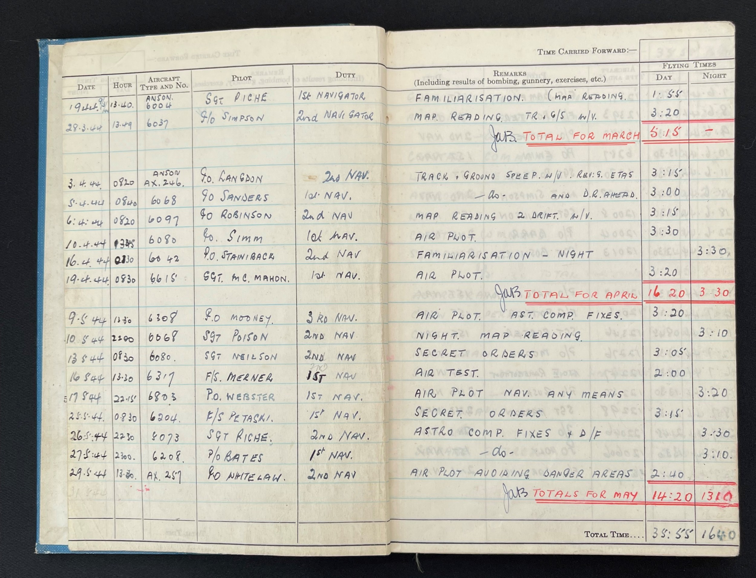 WW2 British RAF Navigators Log book, Service & Release Book and Medals to 1675907 Sgt Horace Street, - Image 3 of 11