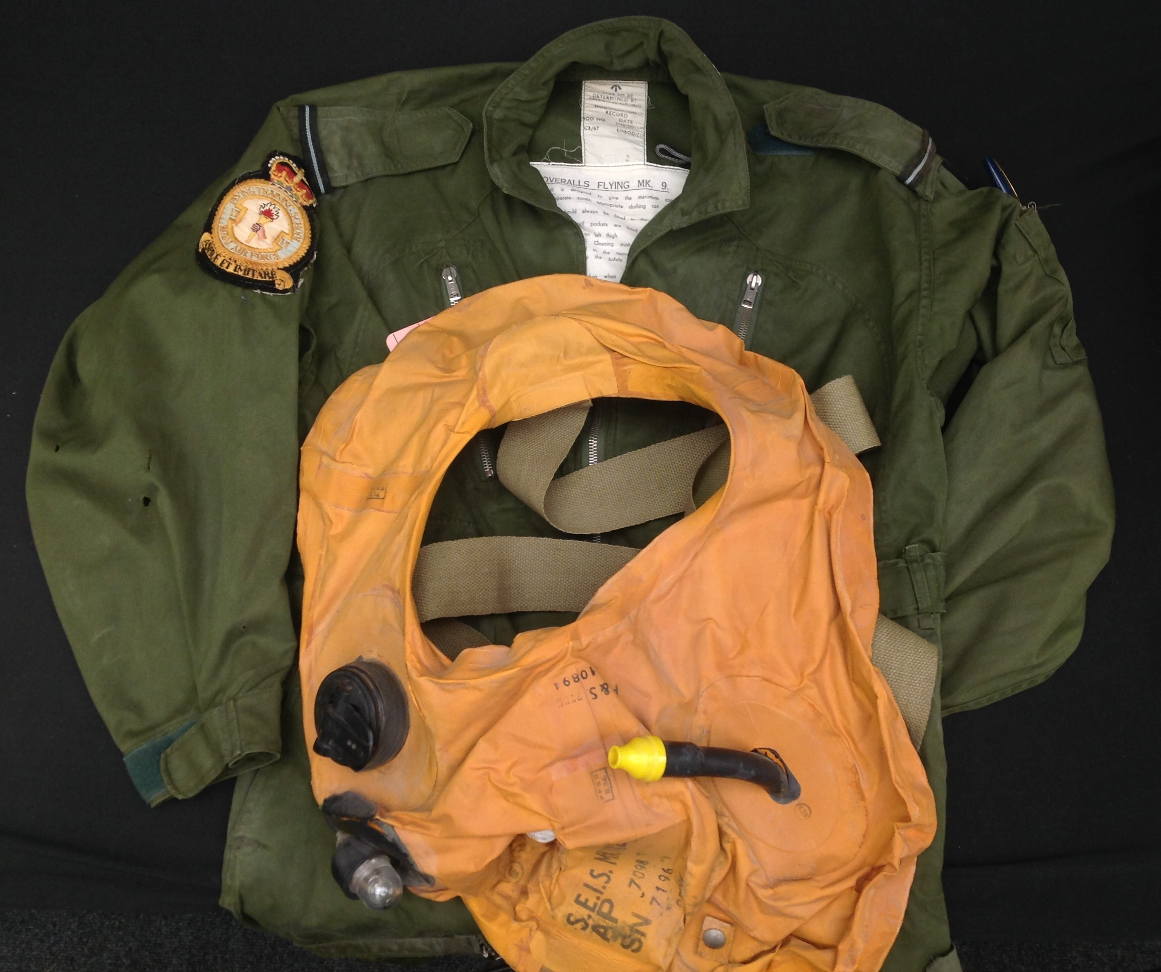 RAF Coverall, Flying MK 9, size 2. Complete with a 1985 map of the Low Countries in pocket and a