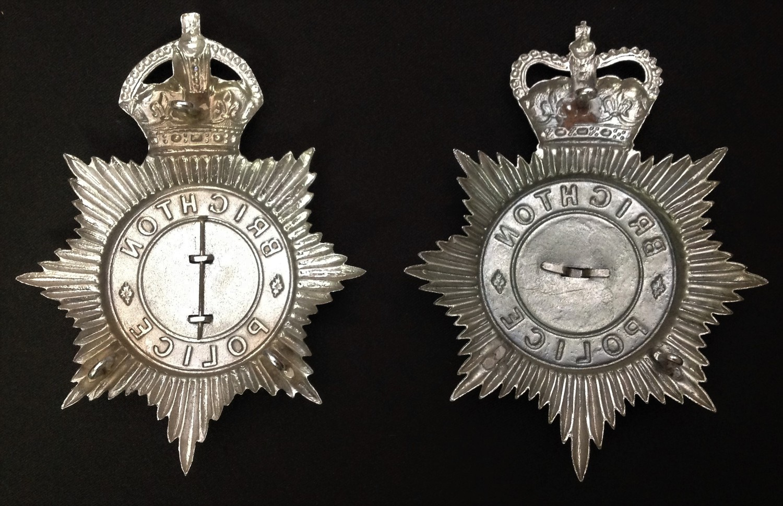 Kings Crown Brighton Police Helmet Plate and a Queens Crown Brighton Police Helmet Plate (2) - Image 2 of 2