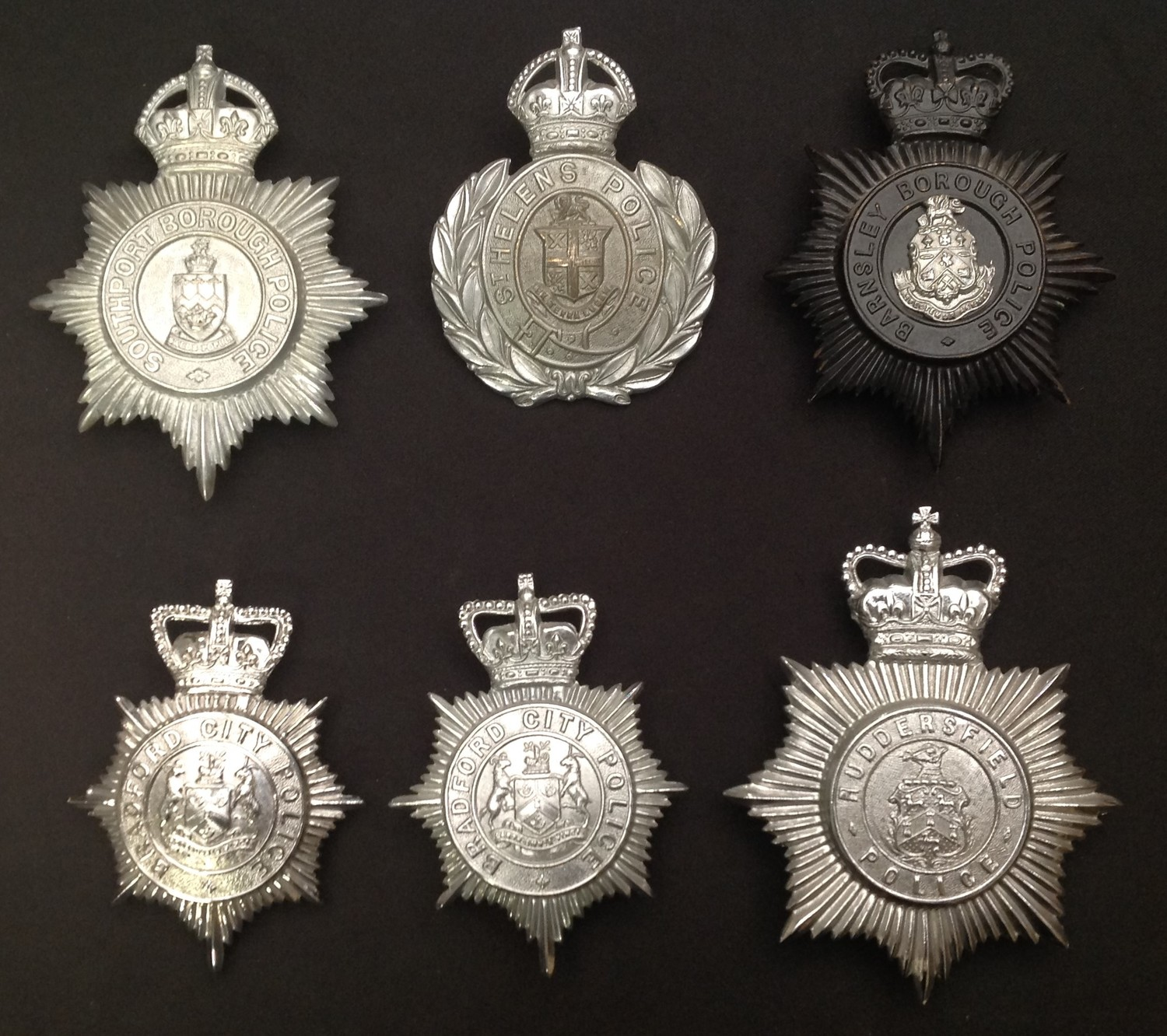 Kings Crown Southport Borough Police: Kings Crown St. Hellens Police: Queens Crown Barnsley