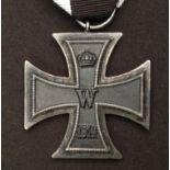 WW1 Imperial German Eisernes Kreuz 2. Klasse. Iron Cross 2nd Class. Makers mark to ring. Complete