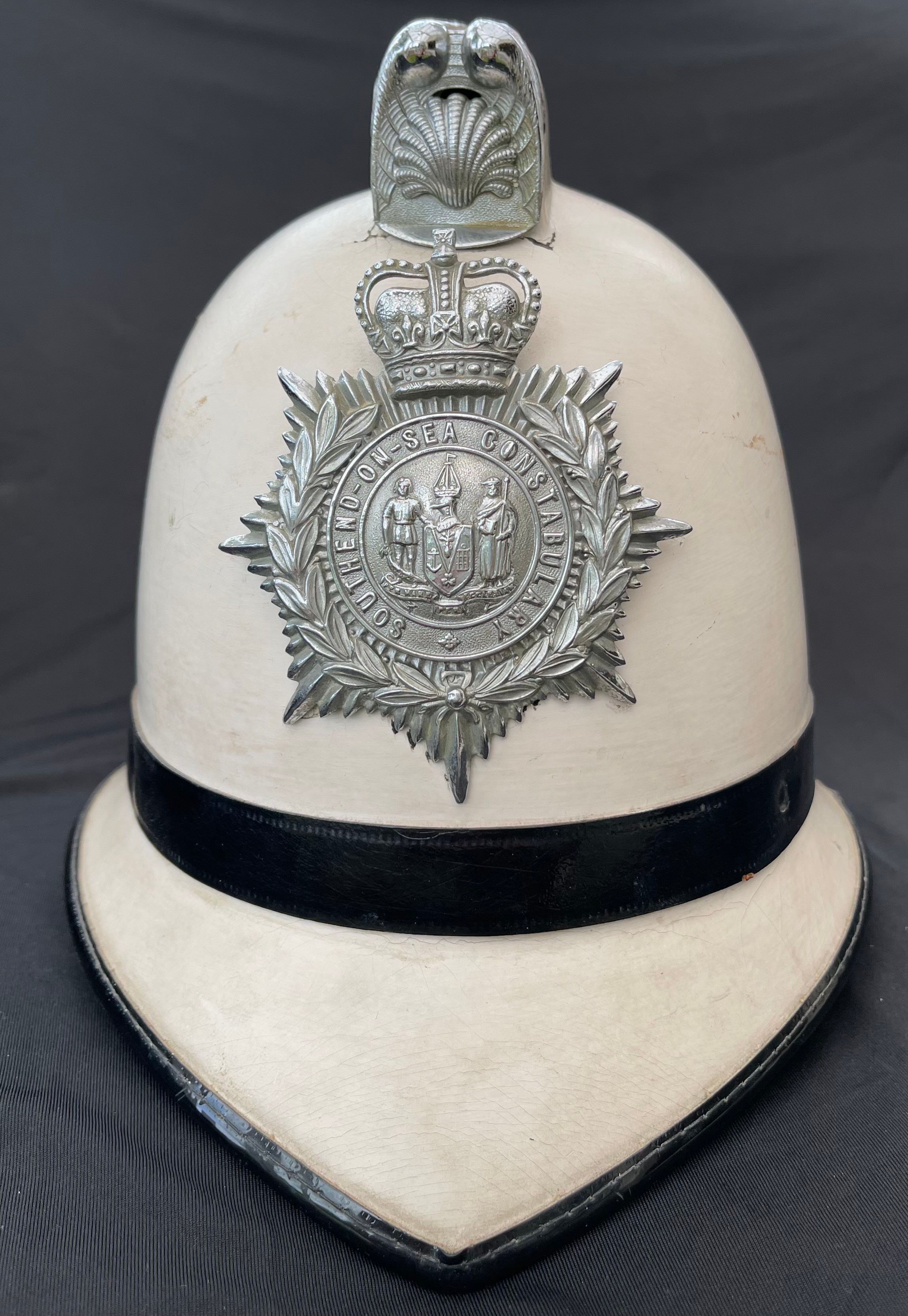 Southend on Sea Constabulary Summer White Police Helmet complete with Queens Crown Helmet Plate.