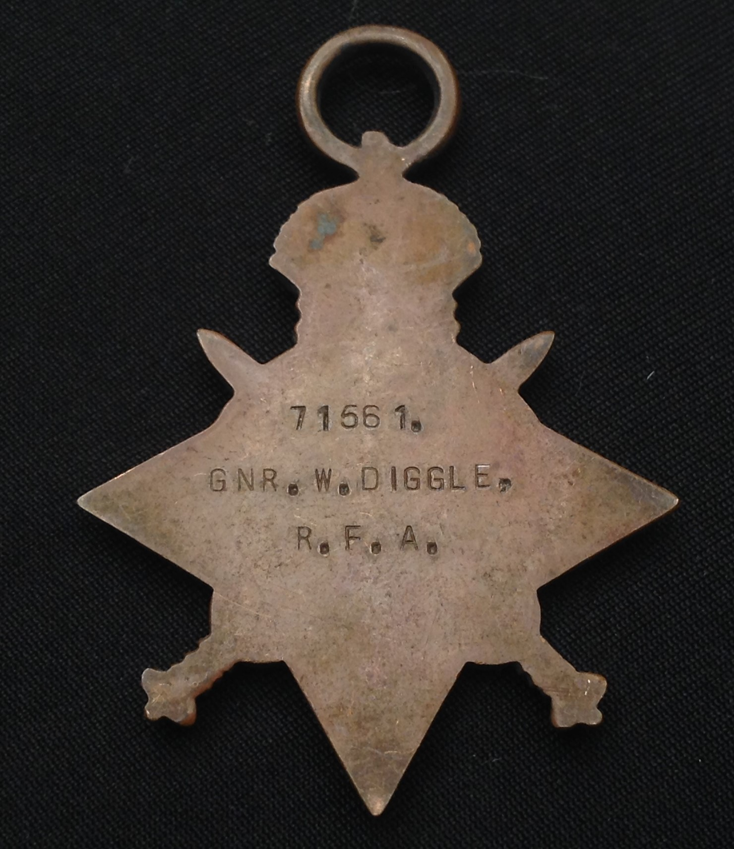 WW1 British Medal group to 71561 Gnr W Diggle, RFA, comprising of 1914-15 Star, British War Medal - Image 2 of 4