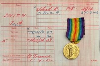 WW1 British Victory Medal to 2914 Pte James Alfred Smith, 8-Lon Regt. (Post Office Rifles) later