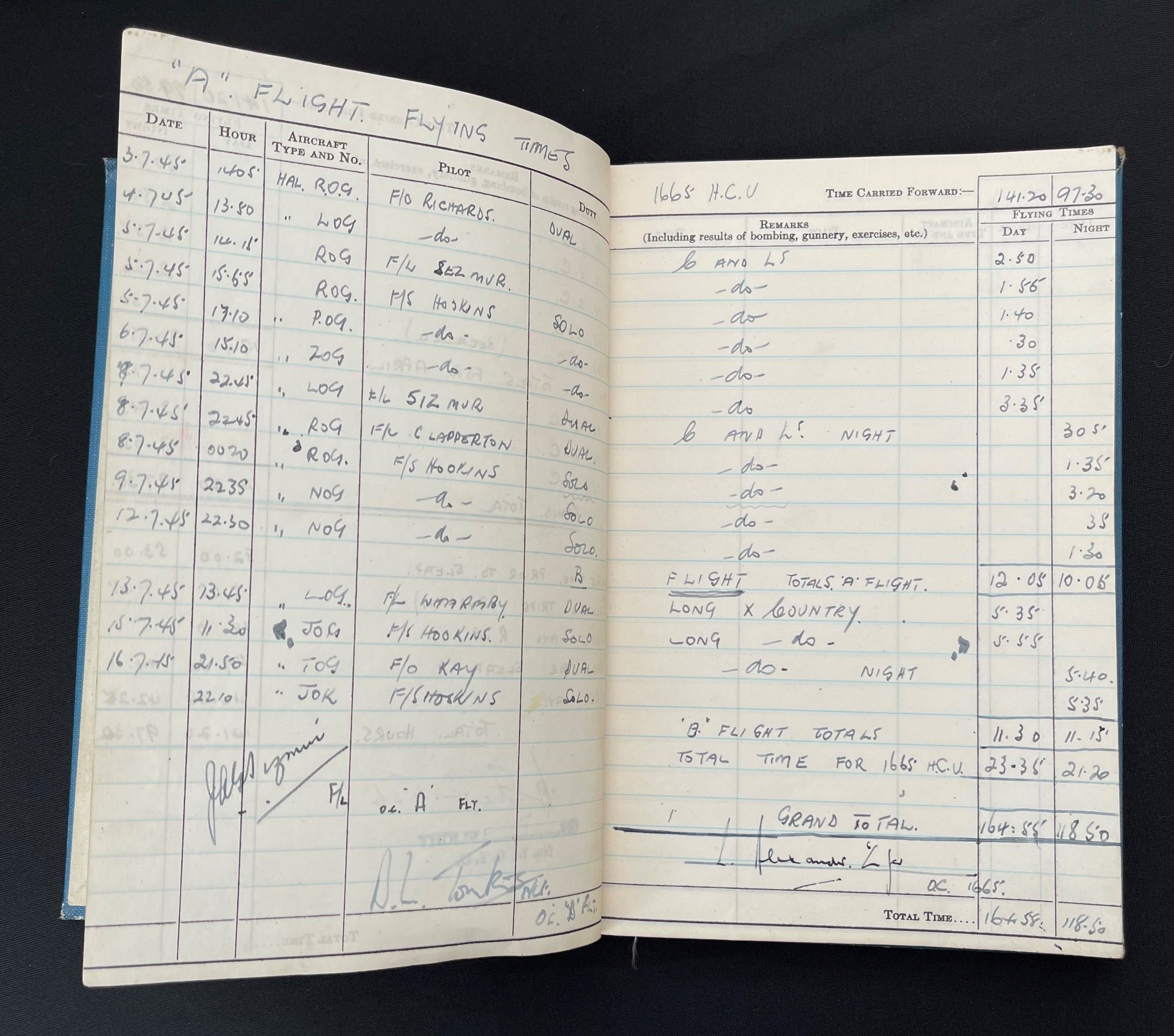 WW2 British RAF Navigators Log book, Service & Release Book and Medals to 1675907 Sgt Horace Street, - Image 7 of 11