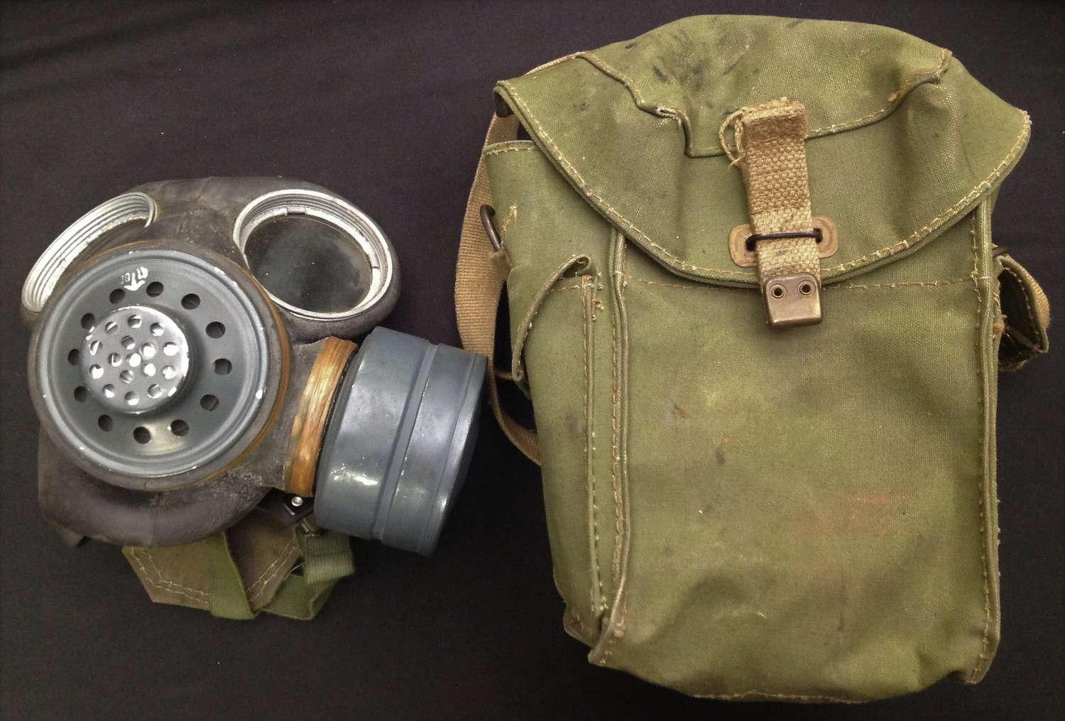 WW2 pattern British Lightweight Respirator, mask dated 1956, straps dated 1964 and complete with a