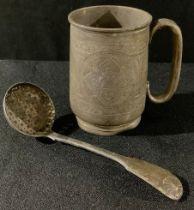 A Victorian silver christening mug, 10cm, Birmingham 1855; a George IV silver sugar sifting spoon,