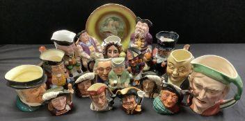 A Melba Ware Henry VIII character jug; other Staffordsgire character jugs; five Royal Doulton