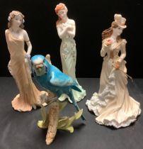 Coalport figures, Topaz, 829/9500; Emerald, 2067/6500; Helena Riding in Hyde Park4251/12500; a