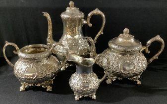 A 19th century silver plated four piece tea service