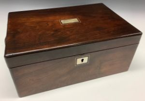 A Victorian rosewood and mother-of-pearl marquetry rounded rectangular writing box, hinged cover