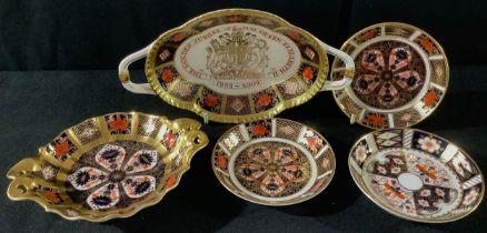 A pair of Royal Crown Derby Imari 1128 circular trinket trays; an 1128 pedestal bon-bon dish,