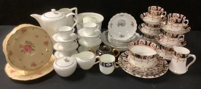 A Wedgwood Mystique Blue coffee service; Copeland jardiniere and jug; Crown Ducal salad dish;