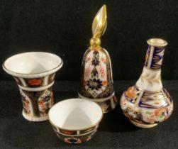A Royal Crown Derby Imari 1128 pattern flared miniature vase, 6.5cm; a miniature sugar bowl; a