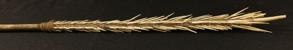 Tribal Art - a Polynesian fishing spear, the cord bound head with bones fashioned as spikes, 186cm