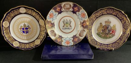 A Royal Crown Derby shaped circular cabinet plate, The Derbyshire Plate, featuring cameos of