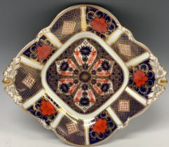 A Royal Crown Derby Imari 1128 pattern two handled acorn dish, 23cm wide, first quality