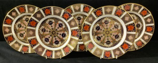 A set of four Royal Crown Derby Imari 1128 pattern side plates, 21.5cm, seconds; another, first