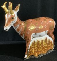 A Royal Crown Derby paperweight, Pronghorn Antelope, printed mark, gold stopper, certificate, 432/