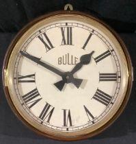 A Bulle circular wall clock, 29cm white dial, Roman numerals, mahogany case