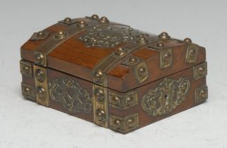 A Victorian brass mounted rosewood pocket watch box and stand, hinged domed cover applied overall