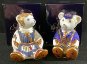 A Royal Crown Derby paperweight, School Boy Teddy, gold stopper, boxed; another, School Girl