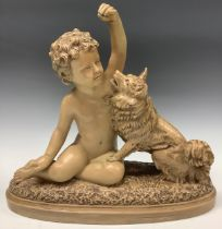A French terracotta model of a child and dog companion, 37cm wide, 35cm high