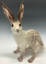 A large Winstanley model of a hare, glass eyes, 39cm, size 9, painted marks