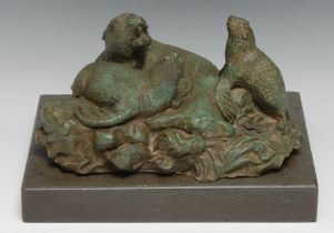 Modern British School, a verdigris patinated bronze, sea lions and pup, rectangular marble base,