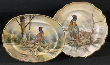 A Staffordshire Phildale cabinet plate, painted by P Worsdale, signed, decorated with game birds