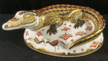 A Royal Crown Derby paperweight, Crocodile, gold stopper, 21st anniversary edition, first quality