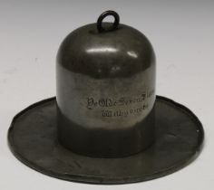 A 19th century pewter public house or tavern table top tobacco jar, the domed cover with ring handle