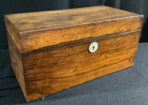 A George/William IV rosewood rectangular tea caddy, hinged cover enclosing a cut glass bowl and a
