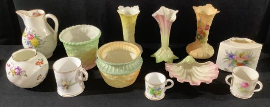 A Royal Worcester sparrow beak cream jug, printed and painted with summer flowers, 11.5cm, date code