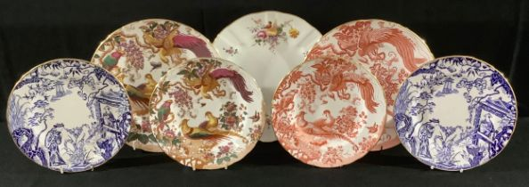 A pair of Royal Crown Derby Mikado pattern dessert plates, 21.5cm, first quality; other Royal