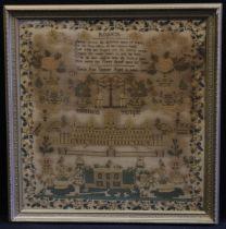 A William IV needlework sampler, Solomons Temple, Sarah Ann Spencer, Aged 12 Years, 1837, 63cm x
