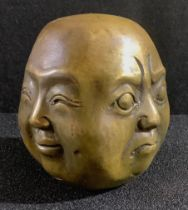 A bronze Buddha bust, displaying four faces, 6cm, 20th century