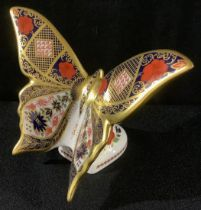 A Royal Crown Derby Old Imari solid gold band Butterfly, gold stopper, 11cm high, unboxed