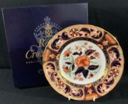 A Royal Crown Derby Pink Camellias pattern plate, 21.5cm, boxed