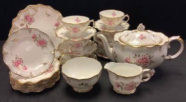 A Royal Crown Derby Royal Pinxton Roses pattern large teapot, milk jug, sugar bowl, six teacups
