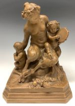 A French terracotta group, after Clodion, mother faun embracing her young, stepped base, 23cm