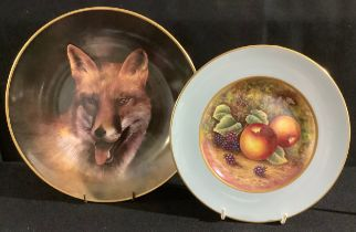 A Staffordshire cabinet plate, painted by James Skerrett (Royal Worcester artist), signed, ripe