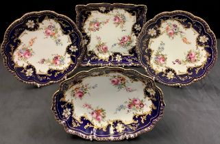 A set of four Cauldon dessert dishes, comprising oval dish, square dish and pair of dessert