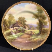 A Royal Worcester shaped circular cabinet plate, Offenham, painted by R Ruston, signed, rural view